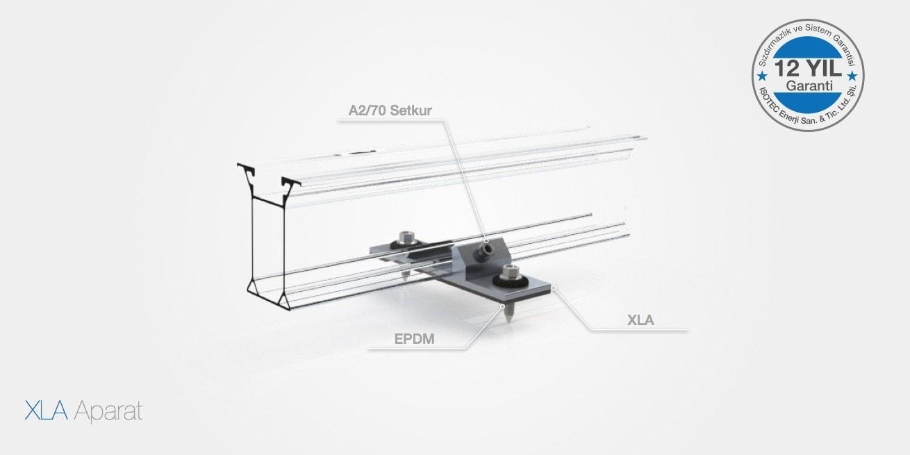 Trapez ve sandviç kaplı çatı kısa boy profil montaj sistemi